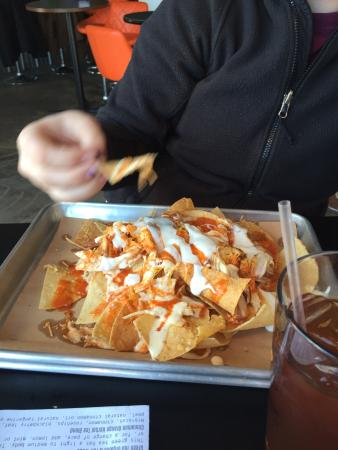 Whitewater, WI: Brisket Sausage and Buffalo Chicken nachos