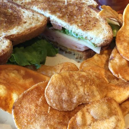 Roserock Cafe: Turkey and Swiss cheese sandwich with homemade potato ...