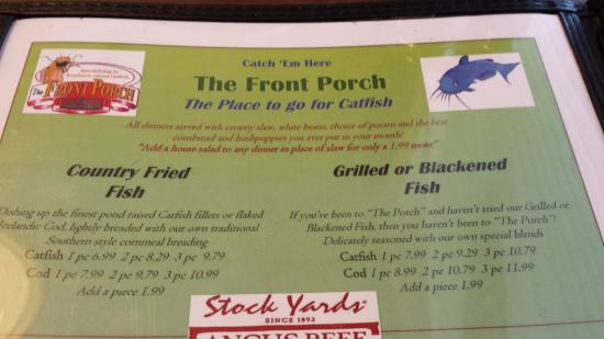 The Front Porch: Picture from inside the menu of the specialty catfish options