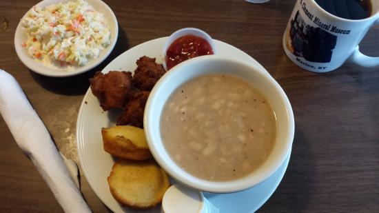 The Front Porch: White beans, hush puppies, corn bread muffins, red relish and good coleslaw. Comes before catfis