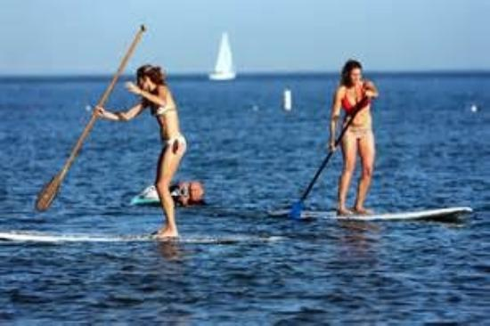 Paddle boarding in the Stonington Harbor and Misquamicut Beach, RI.Also lessons and Bic Paddle B