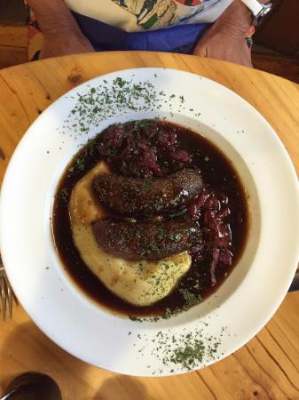 Blue Pub Methven: Venison sausages on mash