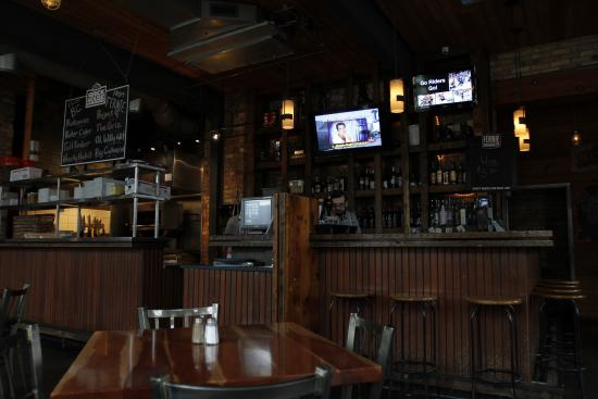 The Brickhouse Bar & Grill : The bar and open kitchen