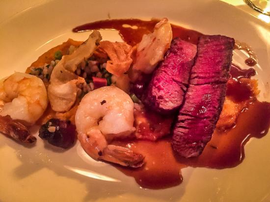 Patrick Bermand Restaurant: Filet Mignon and Shrimp. The filet Mignon absolutely awesome, melt in your mouth tender