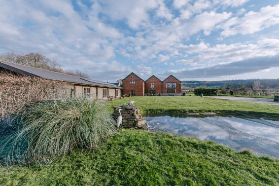Woolland, UK: Views across the front lawn towards The Victorian Barn