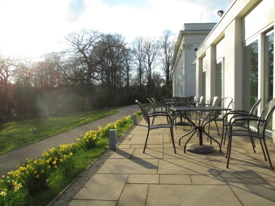Bed and Breakfast at Woodbrooke: Sun on the terrace outside the lounge