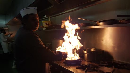Walkden, UK: The chef cooking