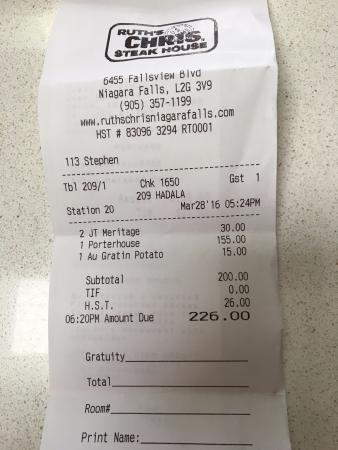 Receipt Picture Of Ruth S Chris Steak House Niagara