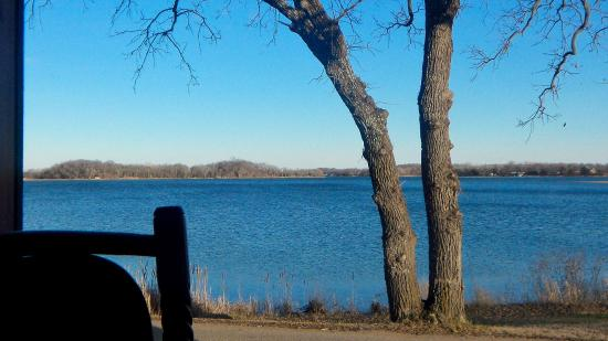 South Haven, MN: View of Clearwater Lake from window table... magical as the sun sets
