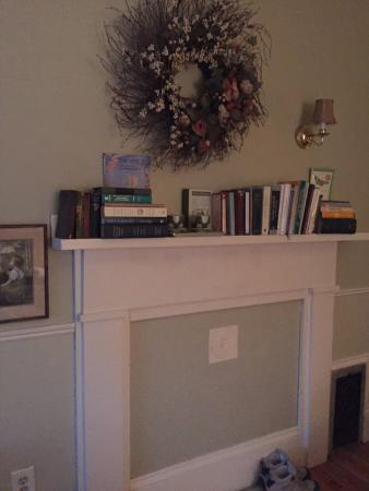 Littleton, MA: Poetry Books Atop Mantle in Poet's Corner