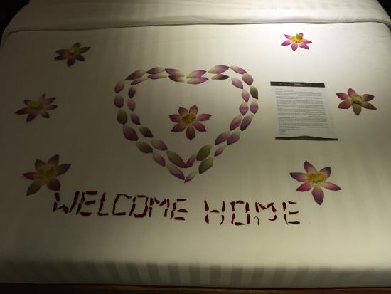 Lovely welcome from the hotel crew