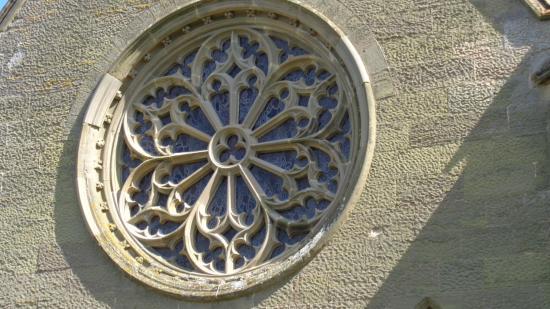Charlecote, UK: okno witrażowe z tyłu budynku