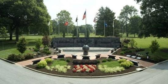 This is the Veterans Memorial inside the gates at Woodside Cemetery and Arboretum in Middletown