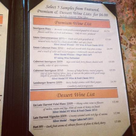 Rooster Hill Vineyards: Wine Tasting List.