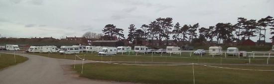 Stratford-upon-Avon Racecourse Touring Park: View of Camping Club UK rally all set up.