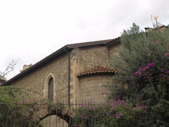 Chiesa di Santa Maria Alemanna: Фрагмент боковой апсиды в обрамлении из январского цветения