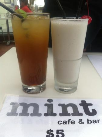 Mint Cafe and Bar: Usain Bolt and Pina Colada cocktails