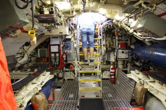 Inside the submarine - very cramped for space! - Picture of ...
