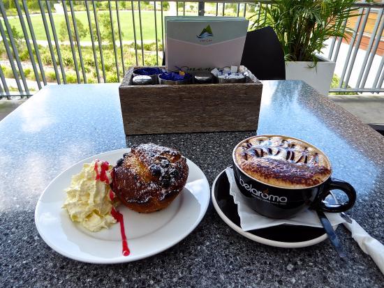 Advancetown, Australia: Blueberry Muffin with cream & Cappuccino