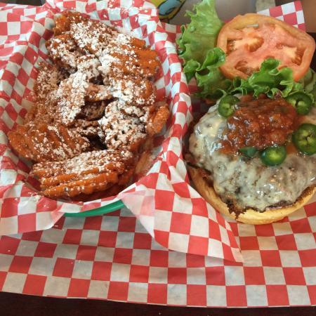 gordo loco burger and sweet potato fries picture of jacks burger