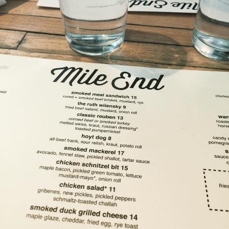 Mile End delicatessen: Menu