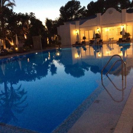 Los Monteros Spa & Golf Resort GL: View from hotel restaurant terrace enjoying a strawberry daiquiri !