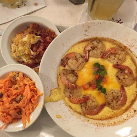 Shrimp and Cheese Grits, Tomato Pie, Carrot & Raisin Salad - Picture ...