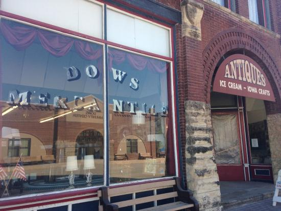 The store front of the Dows Mercantile. Gift shop, flea market, general store items inside.