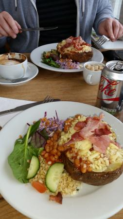 Jacket Potato With Beans Cheese And Bacon At The Drift Cafe