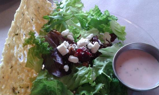 The Green Gateau: Candied Walnuts, Feta Cheese, Dried Cranberry Salad with Raspberry Vinaigrette