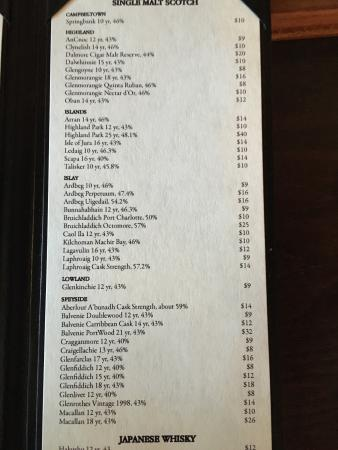 McNellie's Public House : The Scotch menu!