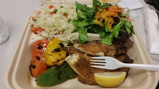Blackened fish with grilled veggies salad and seafood for Terrace fish and chips