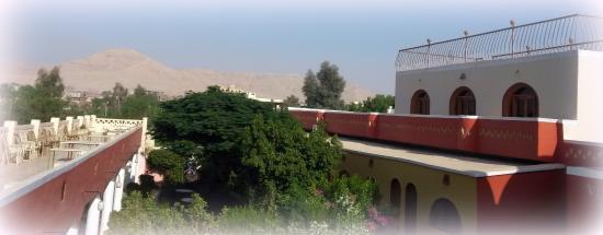 Desert Paradise Lodge: Aussicht von unserem Familelnzimmer in den Garten
