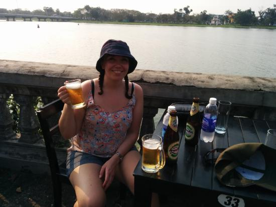 Imperial Hotel: A well deserved beer by the Perfume river