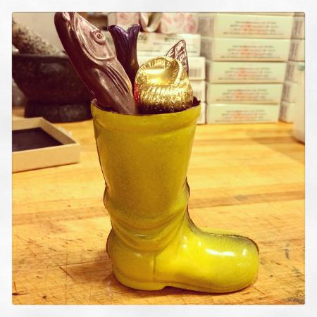 Westbrook, ME: Our signature chocolate fisherman's boot at Black Dinah Chocolatiers