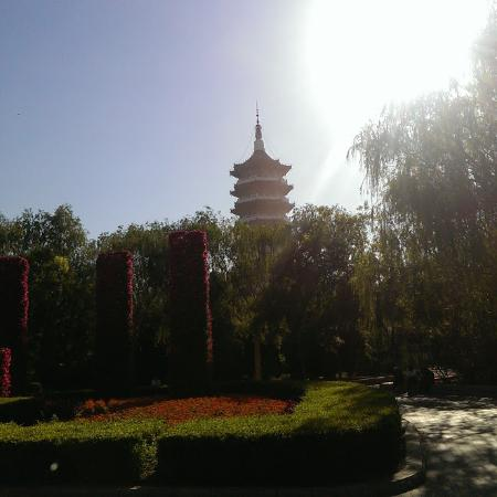 Yingkou Lengyan Temple: The park at midday.