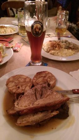 Max Emanuel Brauerei : Traditional Schweinebraten (roast pork) with Brezelknödel (bready balls made with pretzel!)