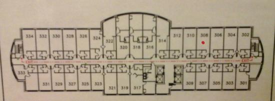 Drury Plaza Hotel St. Louis - Chesterfield: A map. Bottom rooms are Western view.