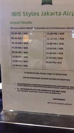 Free Shuttle Schedule Picture Of Ibis Styles Jakarta Airport Tangerang Tripadvisor