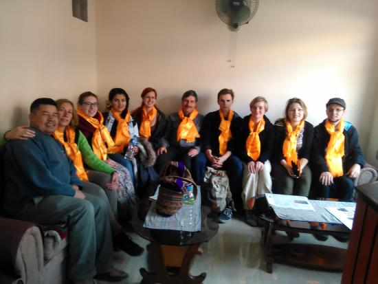 Om Tara Guest House: Group of guest at Lobby room.