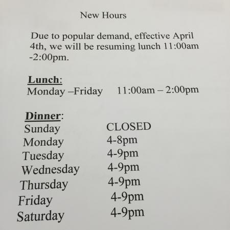Utica, estado de Nueva York: New Hours effective 4/4/16.