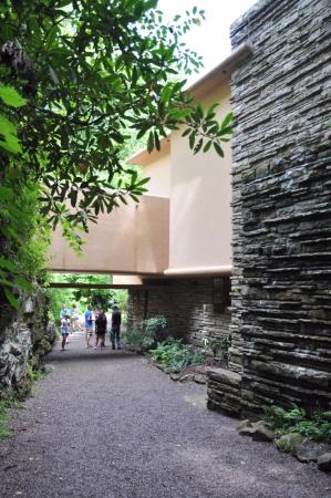 Fallingwater: Structural elements anchoring the house to the surrounding landscape