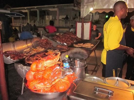 Les Mardis de Grand Case (Harmony Night): Ribs, chicken and lobster (every night) - but this was Harmony Night