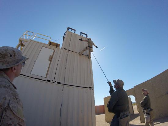 Tonopah, AZ: Learning to repel down a three story structure in full gear.