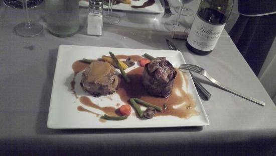 Château du Cornage : filet de boeuf aux foie gras poele et gratin aux cepes