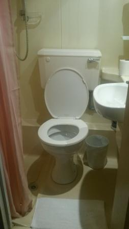 Grenville House Hotel: First room and bathroom were very small but got moved to this other room (excuse my stuff on the