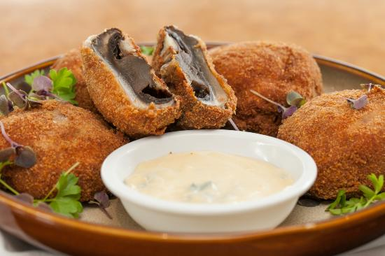 Twenty One: Crumbed Mushrooms with Blue Cheese Sauce