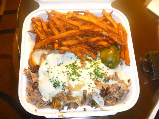 Ship Tavern: Philly Steak & Cheese Sandwich w/sweet potato fries