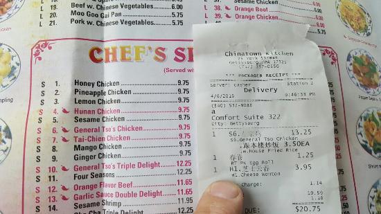 Chinatown Kitchen Menu Gettysburg