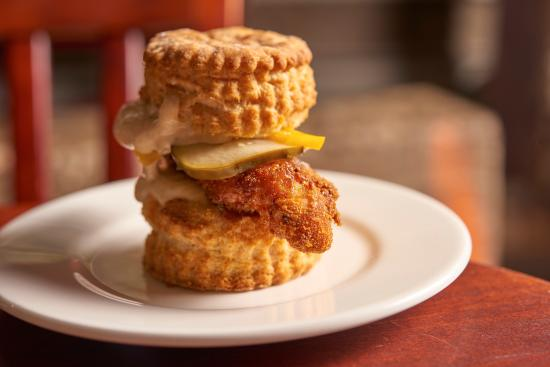 Montague, MA: fried chicken biscuit